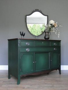 painted furniture - green (Great colors and I can get that exact style with the same handles for cute nightstand from Grammy. Green Painted Furniture, Refurbished Furniture, Colorful Furniture, Paint Furniture, Furniture Projects, Furniture Makeover, Home Furniture, Furniture Design, Shabby