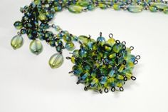 "Two tone Olivine/Capri Smooth- Gun Metal Clasp - 18"" long Necklace"