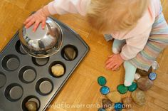 rocks in cupcake tin - 21 Activities for One Year Olds - Baby Play - Wildflower Ramblings