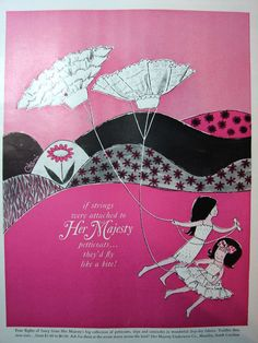 Pretty Lingerie, Vintage Lingerie, Girls Slip, Print Ads, Vintage Ads, Little Girls, The Past, Kites, Illustration
