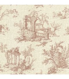 Antiquity Brick Linen Toile Wallpaper