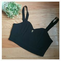 Keepsake the Label Black Cropped Top Sheer side panels, sweetheart neckline with small square opening and exposed back zipper. A definite wardrobe staple made for dressing up or down. In excellent condition. keepsake Tops Crop Tops