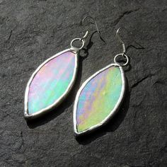 Pale Green Iridescent Stained Glass Earrings by LivingGlassArt