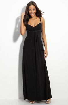 JS Boutique Beaded Crisscross Matte Jersey Gown available at #Nordstrom