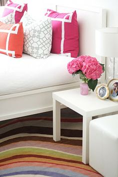You could paint the stripes on or use ribbon to get that great detail on the pillows!