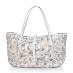 Tiffany tote in natural linen and white smooth calf. More colors available.      love this bag