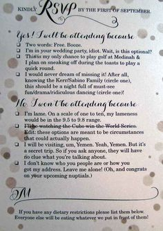 THIS is a hilarious wedding RSVP card