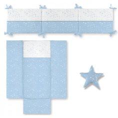 Edredón con protector y cojín ESTRELLAS y lunas azul Color Rosa, Color Azul, Color Menta, Bb, Crib Quilts, Cribs For Babies, Blue Crib, Crib Bumpers
