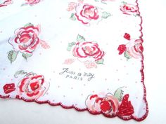Vintage Spring Hanky Paris Red Roses White Flowers by ElmPlace, $16.00