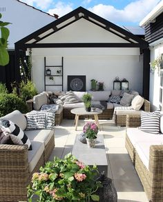 Don't be tempted to overspend when creating the perfect outdoor space. The large backyard landscaping ideas can get costly quickly if you're not careful. Outdoor Rooms, Outdoor Gardens, Outdoor Living, Outdoor Decor, Outdoor Seating, Backyard Playhouse, Backyard Patio, Backyard Ideas, Backyard Beach