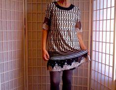 16  Femine Mini Dress Tule Lace Jeans Topper Size Med  by ArtzWear