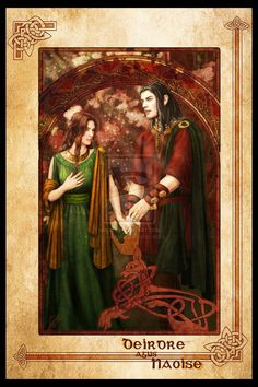 Deidre and Naoise, from the Ulster Cycle in Irish folklore Beautiful artwork is by Breogan
