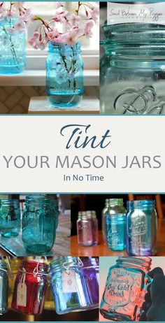How To Tint Your Mason Jars Top 12 Amazing DIY Mason Jar Craft Projects! – Best place for crafters, DIY and fashion enthusiasts! Mason Jar Projects, Mason Jar Crafts, Bottle Crafts, Gifts In Mason Jars, Pickle Jar Crafts, Mason Jar Glasses, Tinted Mason Jars, Blue Mason Jars, Paint Mason Jars