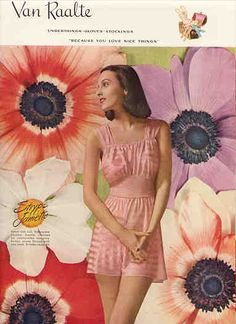 "1946 Van Raalte cute little pink ""Jamette"" vintage lingerie ad, love the colorful floral background"