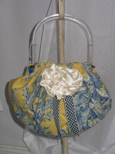 The New Della Bag in Yellow and Navy Toile by by fancibags on Etsy, $100.00