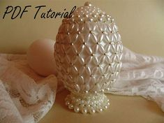 Your place to buy and sell all things handmade Beaded Christmas Ornaments, Christmas Balls, Beading Tutorials, Beading Patterns, Faberge Eier, Egg Art, Egg Decorating, Bead Crafts, Easter Crafts