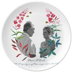 30th Wedding Anniversary PHOTO Commemorative Named Dinner Plate - anniversary cyo diy gift idea presents party celebration