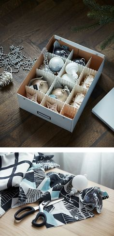 Easy ways to store your holiday deco Ikea Christmas, Xmas, Simple, Holiday, Drawer, Divider, Boards, Box, Decor