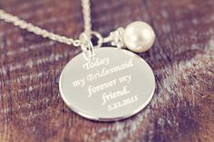 3 Personalized Bridesmaid Gift Necklace, Engraved Wedding Jewelry, 925 Sterling Silver