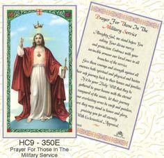 MILITARY SERVICE PRAYER CATHOLIC HOLY CARD