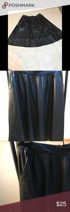 """Search for Sanity faux leather skirt Search for Sanity super soft & pliable faux leather skirt. Has hidden back zip, side pockets, raw edge hem. Waist is 28"""" and length is 22"""". Runs large so this 2 will fit a 4.  An easy & on trend skirt in Very very good condition . Search for Sanity Skirts"""