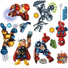 Shop for RoomMates Marvel Super Hero Squad Peel and Stick Wall Decals. Get free delivery On EVERYTHING* Overstock - Your Online Nursery Decor Shop! Wall Stickers Marvel, Big Wall Stickers, Disney Wall Decals, Xman Marvel, Marvel Avengers, Pop Marvel, Mickey Mouse Classic Cartoons, New Mickey Mouse, Superhero Room Decor