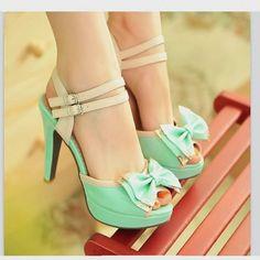 Mint Ankle Strap Pumps