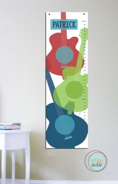 """Growth Chart for kids, Guitars, 13"""" X42"""" Inches, Gift for kids, Newborn Gift, Music lover, Height chart, Birthday gift for boy and girl"""
