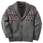 With a knit-in fair isle design, this shawl collar cardigan fits the bill for his holiday festivities. Wear it with plaid flannel and denim for a handsome style. <br>