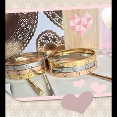 """Love Bracelets / various sizes High Quality Love Bracelets ✨ comes with Matching screwdriver ⭐️available in three sizes and colors available sizes : 16 fits up to a 6 1/2"""" wrist,  19 fits up to 7 3/4"""" wrist ,  size 21 fits up to a 8 1/2"""" wrist colors 18 k gold over titanium steel, Rose Gold over titanium steel or silver titanium steel with or without stones⭐️   I do give bundle discounts ✨these are very high quality, will not tarnish fade or turn skin green ✨ask for a listing ☄☄ Jewelry…"""