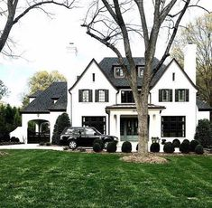 Beautiful black and white classic house exterior