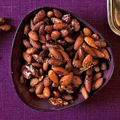 Maple Rosemary Almonds-- These almonds are flavor- and proten-packed with approximately six grams of protein and three grams of dietary fiber per one ounce serving. Serve them at your next cocktail party.