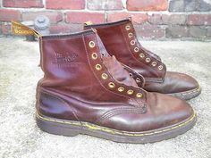 Dr Doc Martens Air Wair Brown Leather Vintage 8 Eye Army Boots Mens Size 10 Punk