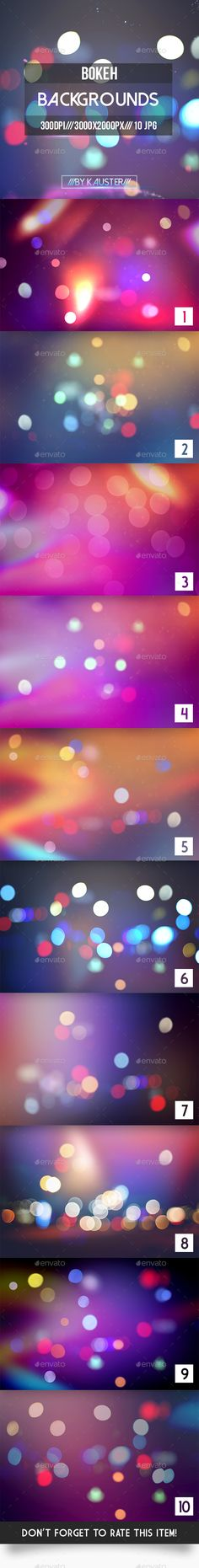 10 Bokeh Backgrounds. Download here: http://graphicriver.net/item/bokeh-backgrounds-vol5/16085048?ref=ksioks