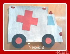 We finger painted white on gray paper, then added paper wheels, window, and cross, and the kids helped shake glitter onto the light areas. Toddler Art, Toddler Crafts, Preschool Crafts, Crafts For Kids, Doctor Theme Preschool, Toddler Activities, Preschool Activities, Transportation Crafts, Community Helpers Preschool