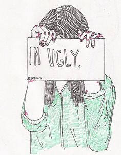 "Very sad to think ""I'm ugly"" Illustrations, Illustration Art, Depression Art, Sad Drawings, Sad Sketches, Im Ugly, My Demons, How I Feel, In My Feelings"