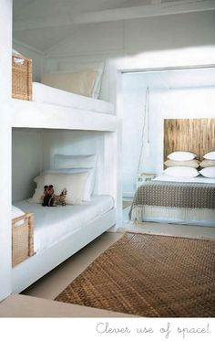 guest room with built in bunks for kids. (not that every parent WANTS their kids in their beach house room. Bunk Beds Built In, Bunk Rooms, Bunk Bed Designs, Home Bedroom, Cottage Bedrooms, Bedroom Ideas, Bedroom Decor, Small Spaces, Small Rooms