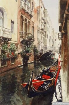 🌺🌻✿❀❁ For more great pins go to Venice Painting, Italy Painting, Art Watercolor, Watercolor Landscape, Guache, Water Reflections, Italy Travel, Palazzo, Amsterdam