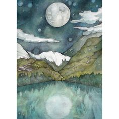 PRINT 5 x 7 The Bright Moon decor watercolor night sky magical print ($23) ❤ liked on Polyvore featuring home, home decor, wall art, watercolor wall art, moon home decor and moon wall art