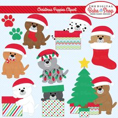 Christmas Puppies Clipart - adorable puppies are perfect for crafts, scrapbooking, card making and more.