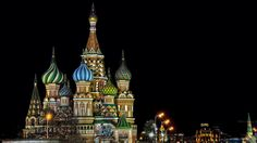 General 1920x1080 architecture city cityscape night lights building Moscow Russia Saint Basil's Cathedral tower street light sculpture capital trees