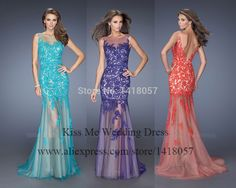 2015 Fitting Blue Purple Orange Lace Prom Dresses Mermaid Evening Gowns See Through Open Back Vestido De Baile LP085-in Prom Dresses from Weddings & Events on Aliexpress.com | Alibaba Group