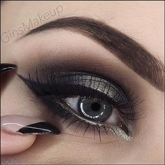 amazing black with old gold smokey eye
