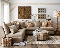 Sectional; Earth tones; beige, brown, blue, grey; Horchow eclectic family room