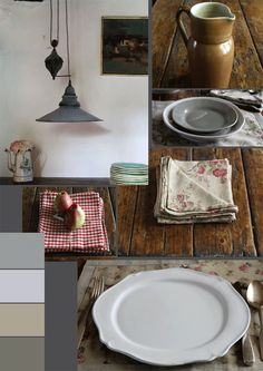 soft washed red on natural linen for the French Kitchen - The Paper Mulberry: The French Country Kitchen