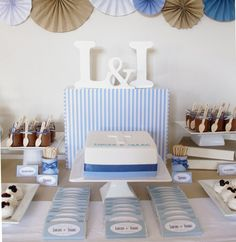 blue brown christening party dessert table for twin boys wedding cake topper centerpiece Christening Dessert Table, Christening Party, Baby Baptism, Baptism Party, Baptism Ideas, First Communion Party, First Holy Communion, Communion Cakes, Party Buffet
