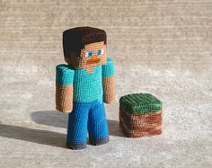 "Crochet Pattern of Steve from ""Minecraft"" (Amigurumi tutorial PDF file)"
