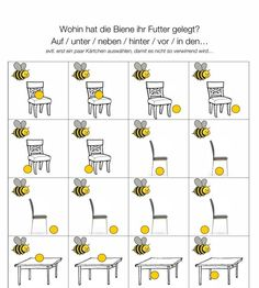 Memory to prepositions - language - I had just played with a fabric bee, a dollhouse chair and puffed rice balls. The children each put - Kindergarten Portfolio, Maternelle Grande Section, German Grammar, Learn German, Life Lesson Quotes, Life Quotes, Kids Education, Pre School, Special Education