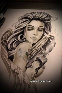 Photo Chicano Art Tattoos, Chicano Drawings, Gangster Tattoos, Badass Tattoos, Body Art Tattoos, Girl Tattoos, Tattoo Design Drawings, Tattoo Sketches, Art Drawings