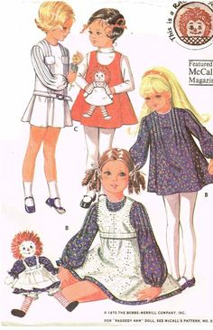 1970s Vintage McCalls Sewing Pattern 2530 Toddler Girls Raggedy Ann Dress Sz 6x #McCalls #RaggedyAnnDressPattern